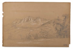Alpine Landscape - White Chalk on Brown Paper by M.H. Yvert - Late 1800