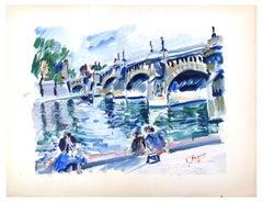 Paris Bridge - Acrylic Painting on Paper by G. Agar