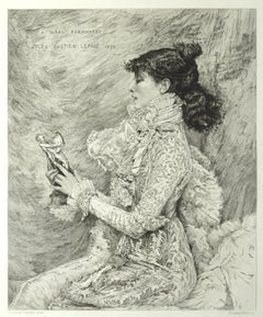 Portrait de M.lle Sarah Bernhardt - Original Etching by E.A. Champollion - 1879