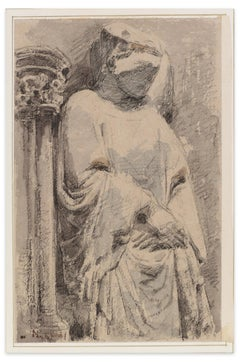 Thoughtful Woman - Ink and Watercolor by A. Bigand - Mid 19th Century