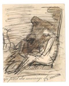 Madame Imbert - Original Charcoal Drawing - Late 19th Century