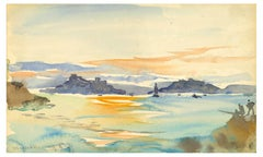 Marine Landscape - Original Watercolor by F.-A. Houbron - 1875