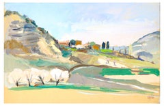 The Hill - Oil on Paper by J. Ivane-Millérioux - 1970s