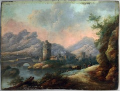 River Landscape - Original Oil on Panel by J.M. Roos - Early 18th Century
