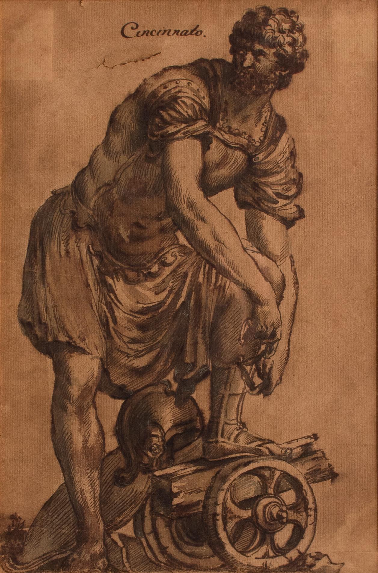 Cincinnato - Original Ink and Watercolor by Italian Master 18th Century