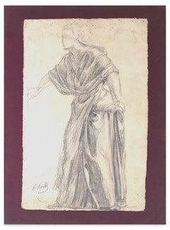 Sketch Of Woman - Original Pencil Drawing by P. Borel - Late 19th Century