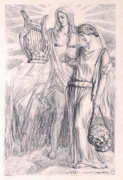 Lovers - Original Charcoal Drawing by A. Leroux - 1927