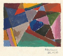 Abstract Composition - Original Tempera on Paper by R. Guillaume - 1953