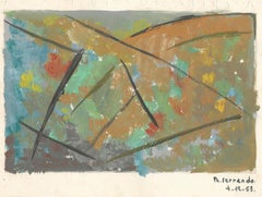 Géométries - Original Tempera on Paper by Ph. Ferrando - 1953