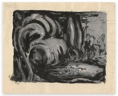 Waves - Original Tempera and China Ink Drawing on Paper - Early 20th Century