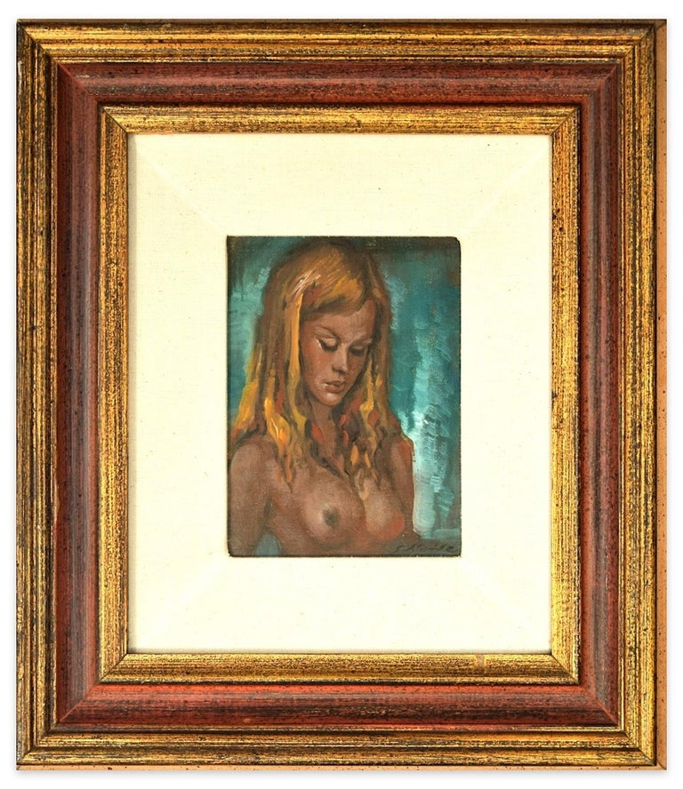 Nude Of Woman - Oil on Panel by Guido Aloise - 1970 For Sale 1