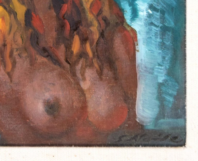 Nude Of Woman - Oil on Panel by Guido Aloise - 1970 For Sale 3
