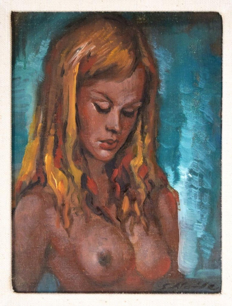 This Nude Of Woman is an original colored oil painting on panel realized in1970 by Guido Aloise.  Good condition. Includes a beautiful gilded frame: 45 x 40 cm  The artwork is hand-signed by the artist on the lower right corner-.  On the back label