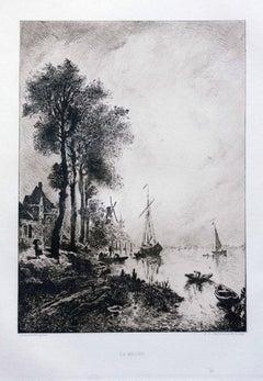 La Meuse - Original Etching by R.P. Grouillet - 1911