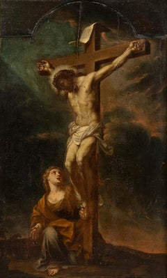 Crucifixion - Oil on Panel by F. Trevisani - Early 18th Century