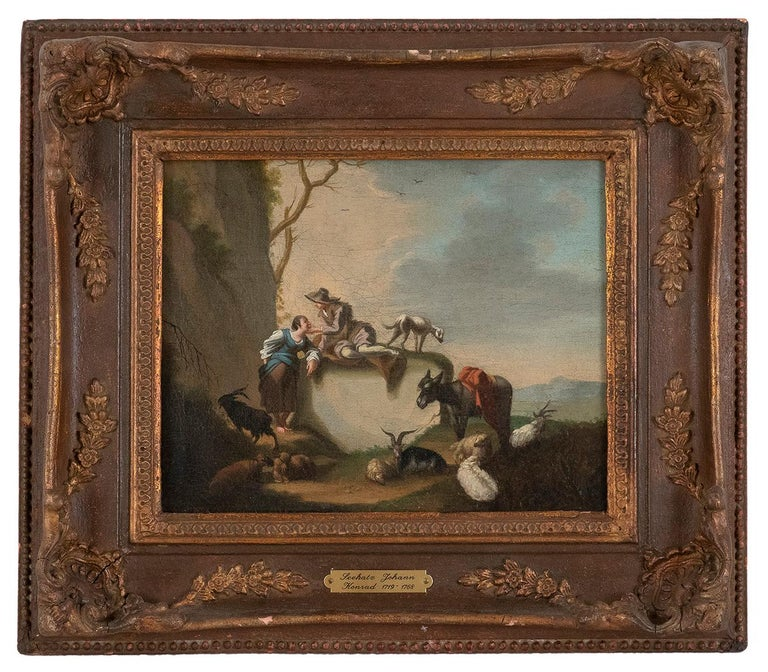 Bucolic Scene - Oil on Canvas by J.C. Seekatz . Mid 18th Century - Painting by Johann Conrad Seekatz