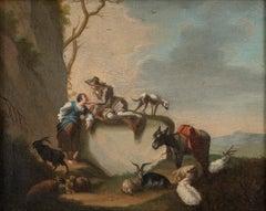 Bucolic Scene - Oil on Canvas by J.C. Seekatz . Mid 18th Century