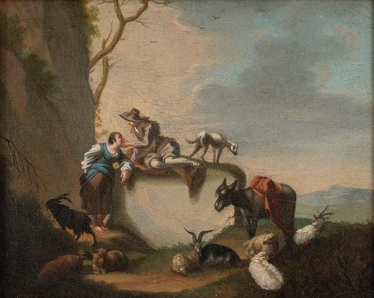 Johann Conrad Seekatz Figurative Painting - Bucolic Scene - Oil on Canvas by J.C. Seekatz . Mid 18th Century
