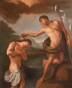 The Baptism of Christ  - Oil on Canvas by A. Milani - Early 18th Century