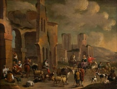 Great Genre Scene - Oil on Canvas - Late 17th Century