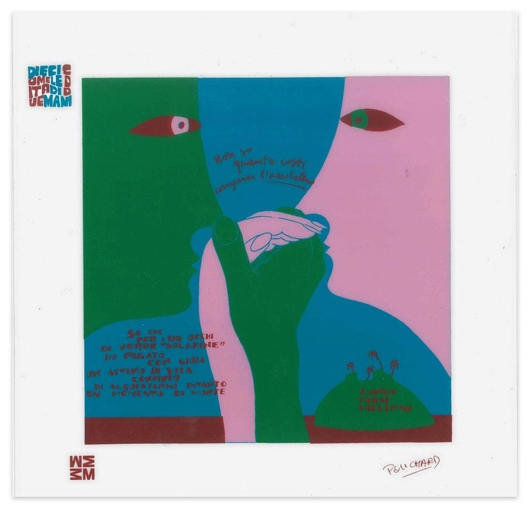 Ennio Pouchard Abstract Print - Arcobaleno - Diecicomeleditadiduemani - Screen Print on Acetate by E. Puchard