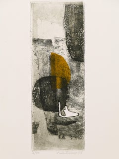 Composition Abstraite - Original Etching and Aquatint by René Lubarow - 1965