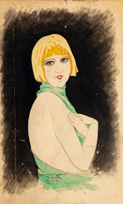 Portrait of Woman - Original Ink and Watercolor Drawing by Paul Bonet - 1930