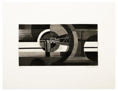 Abstract Composition - Original Etching and Aquatint by J. Birkholzer - 1970