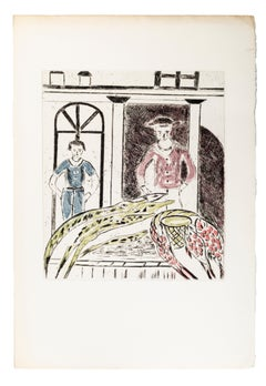 Unexpected Guests - Original Lithograph by A. Ruellan - 1970s