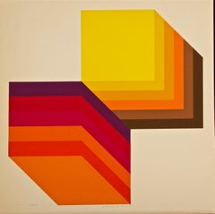 Two Cubes - Original Screen Print by Gianni Colombo - 1972