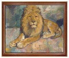 Lying Lion - Oil on Cardboard by H. Kohlmann - 1966