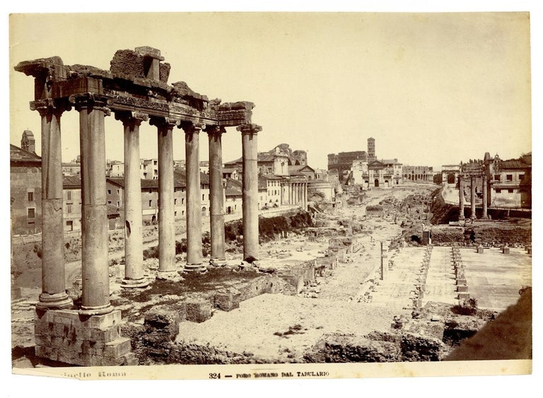 Views of Rome is a lot of eighteen albumen prints with invigoration treatment, printed with photographer's header on the front. The prints of this lot vary slightly in their size but all are close to the 18 x 25 cm format (oversize whole plate