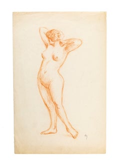 Naked Woman - Original Pencil Drawing Late 19th Century