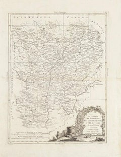 Li Governi di Borgogna - Original Ancient Map - 1777
