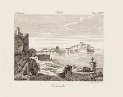 View of Taranto - Original Etching by Achille Parboni - 1843