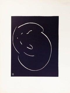Le Chat - Original lithograph by Simone Haret - 1970s