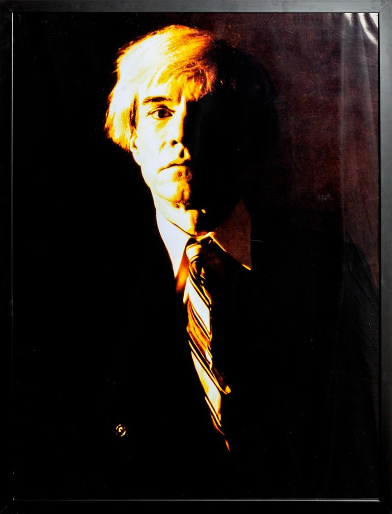 Gerald Bruneau Portrait Photograph - Portrait of Andy Warhol - Yellow print-toning by G. Bruneau - 1980s