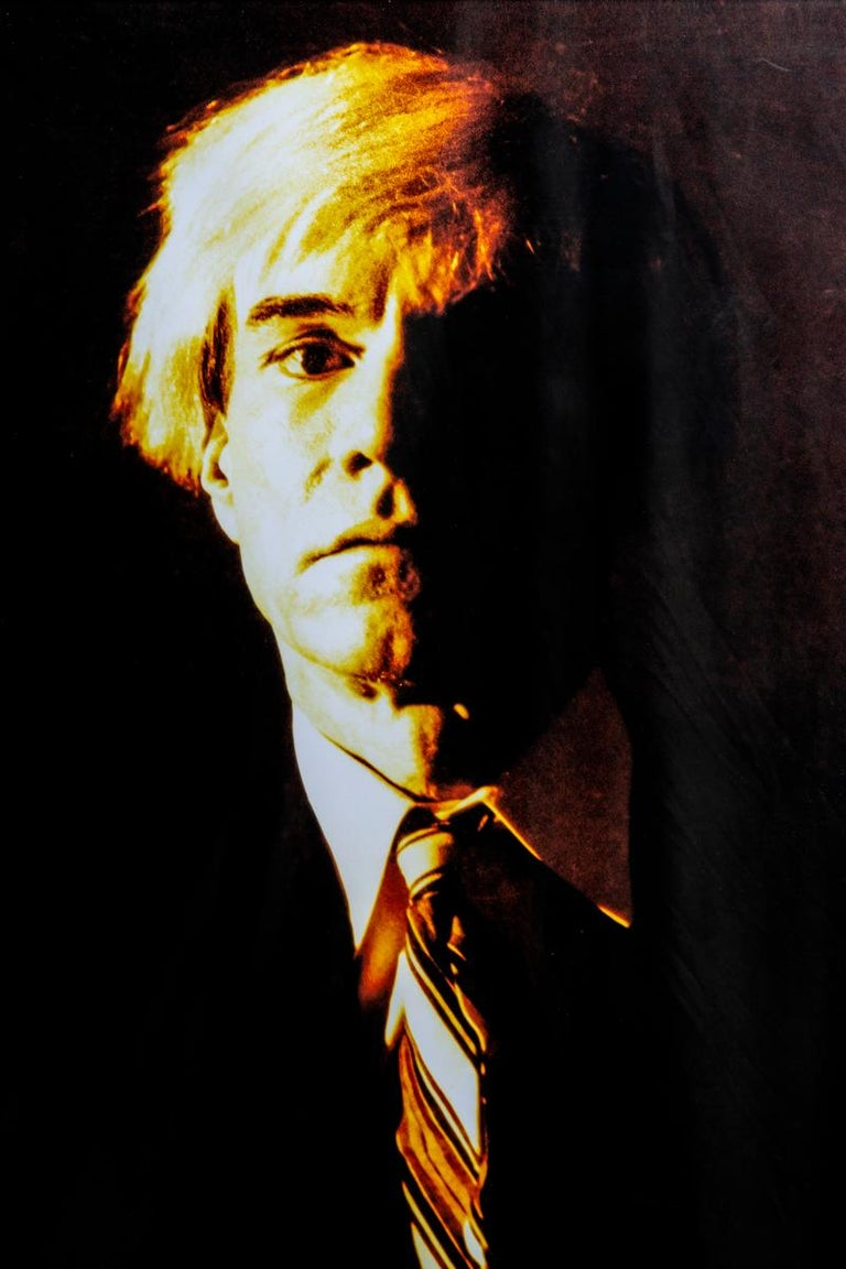Portrait of Andy Warhol - Yellow print-toning by G. Bruneau - 1980s - Photograph by Gerald Bruneau