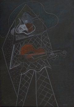 The Musician - Original Gouache on Paper by Pippo Oriani - Mid 20th Century
