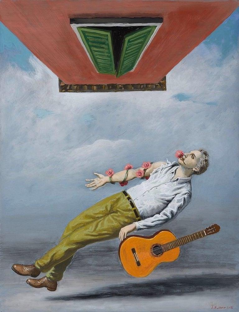 Stefano Di Stasio Figurative Painting - May - Original Gouache on Paper by S. Di Stasio - 2016