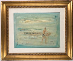 The Fisherman - Original Oil on Canvas by Giovanni Stradone - 1962