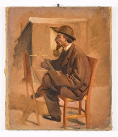 The Painter - Original Oil on Canvas attr. to V. Cabianca - Late 19th Century