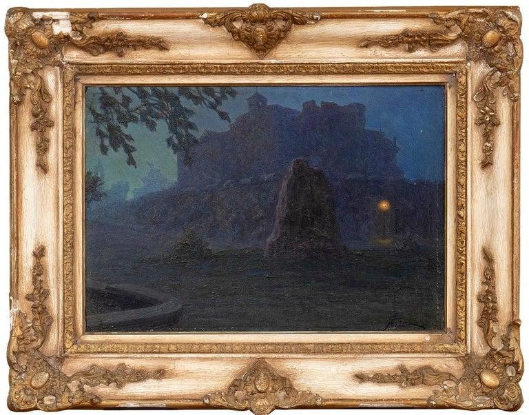 Night - Original Oil on Board by G. B. Crema - 1920s - Painting by Giovanni Battista Crema