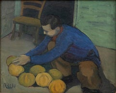 Man with Pumpkins - Original Oil on Canvas by E. Casali Ricchi - Half 1900