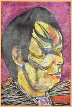 Portrait of Tattooed Man - Original Oil Paste on Canvas - Late 20th Century
