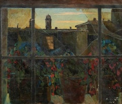 View of Via Margutta - Original Oil on Canvas by N. da Cosenza - 1954