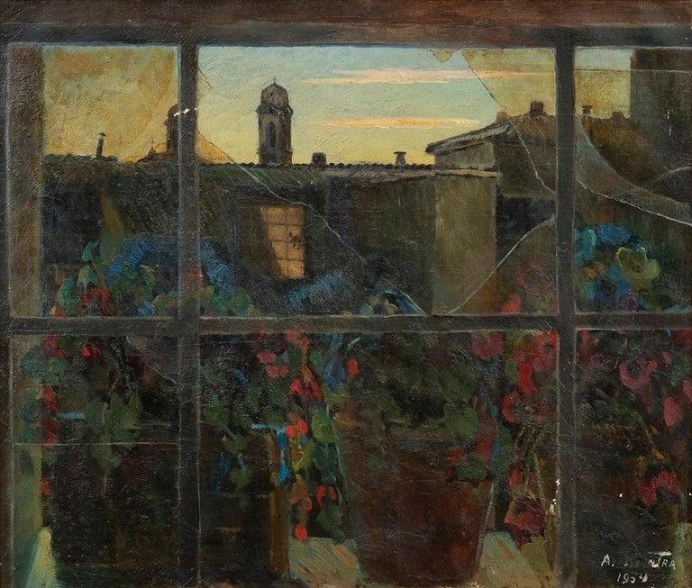 Nicotra da Cosenza Landscape Painting - View of Via Margutta - Original Oil on Canvas by N. da Cosenza - 1954