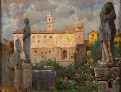 View of the Capitoline Hill (Rome) - Oil on Cardboard by E. Tani - 1930s