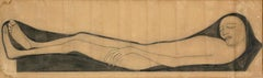 Figure Lying Down - Original China Ink by A. Wildt - 1913