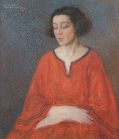 Female Portrait - Oil on Canvas by E. Bertolé - 1922